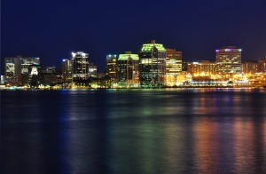 Halifax, Nova Scotia at Night With Reflection in Harbour