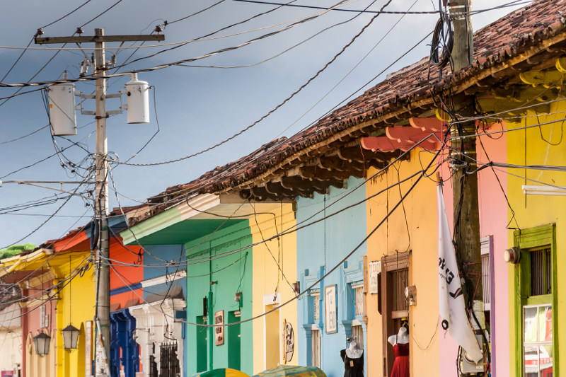 Row of colorful houses in central Granada, Nicaragua.