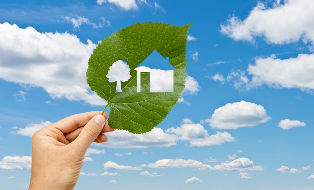 Hand holding leaf with a house cutted against blue sky