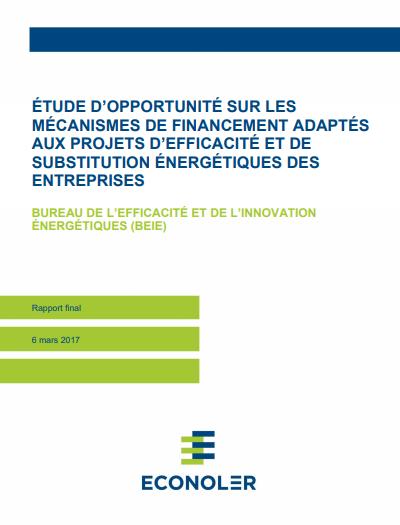 Étude d'opportunité sur les mécanismes de financement adaptés aux projets d'efficacité et de substitution énergétiques des entreprises