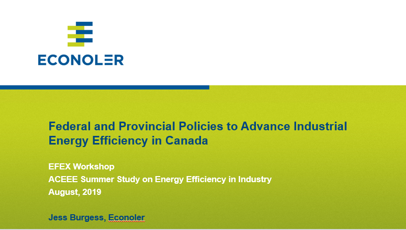 Federal and Provincial Policies to Advance Industrial Energy Efficiency in Canada